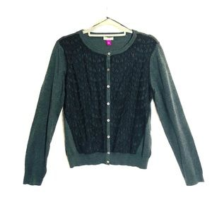 Vince Camuto black cardigan with lace